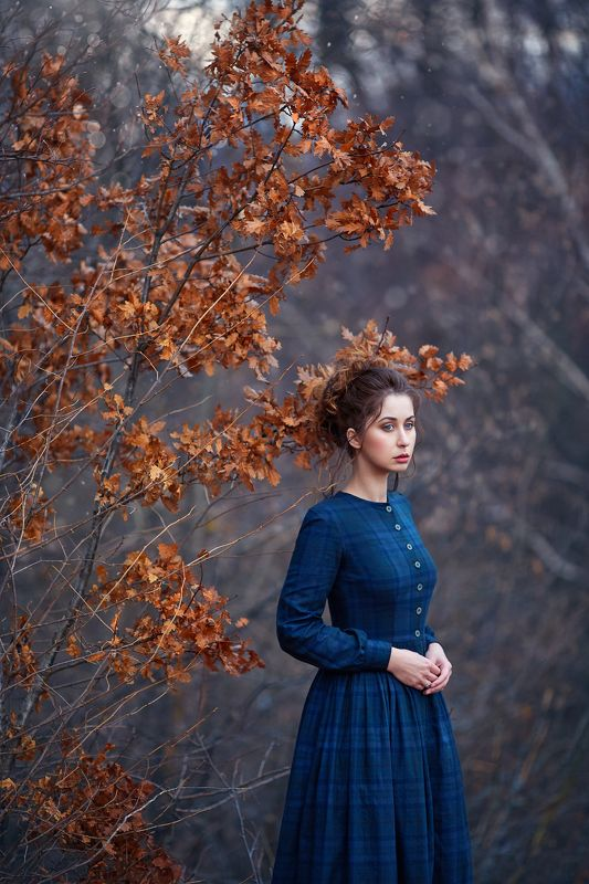 woman, portrait, blue dress, autumn Something Strange and Deadlyphoto preview