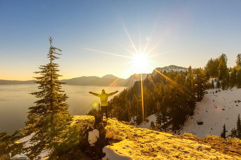 озеро, кратер, вода, солнце, краски Радость жизниphoto preview