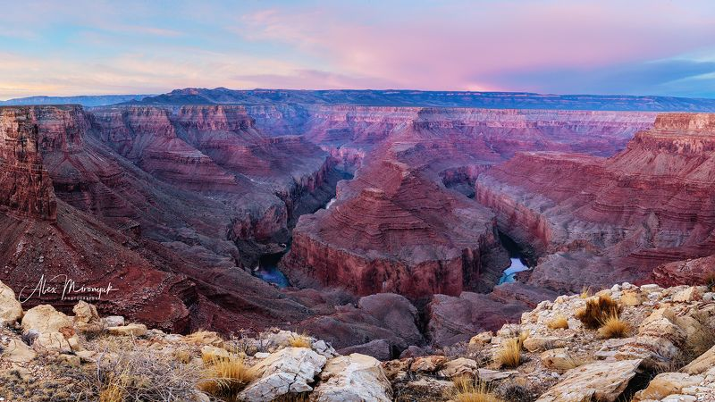 сша, каньон, гранд, колорадо, пустыня, юго-запад, путешествие, панорама, утро, сумерки \
