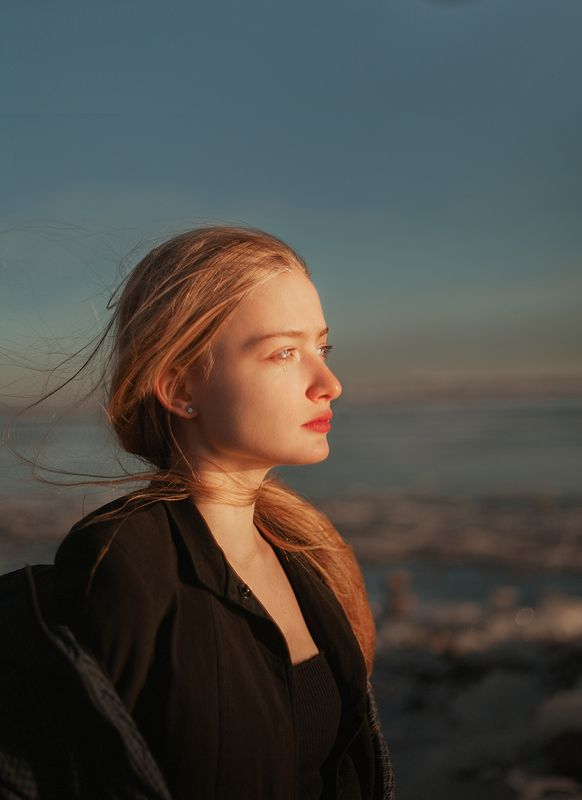 portrait, winter, ice , russia, mosina, long, hair, sun Rosephoto preview