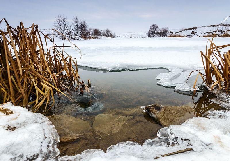 зима, пруд Утечка...photo preview