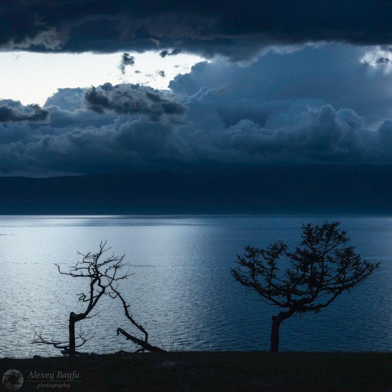 природа, вечер, пейзаж, озеро, вода, дерево, силуэт, минимализм, облако, горы, ольхон, байкал Минимализм Байкалаphoto preview