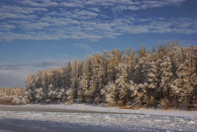 зима, река, иней Морозная тишинаphoto preview