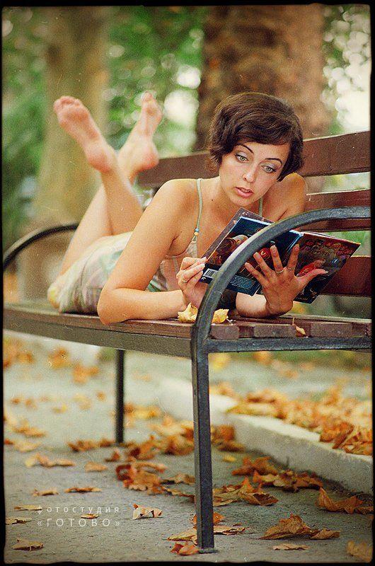 портрет, девушка, лето, книга, парк ***photo preview
