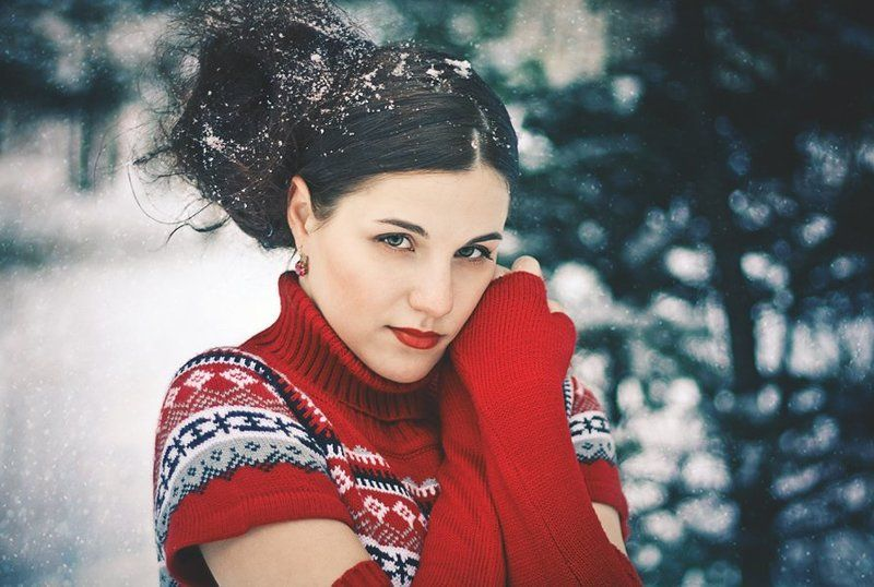 зима, зимнее, морозко, мороз, холод, лед, девушка, лес, портрет Морозкоphoto preview