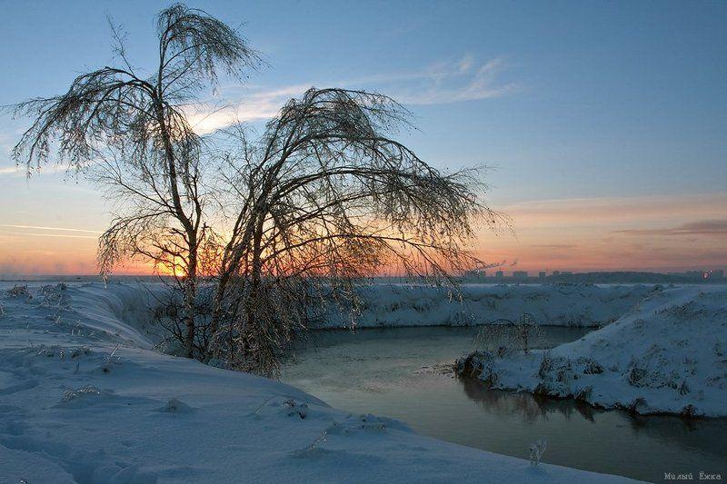 закат, зима Закатная....photo preview