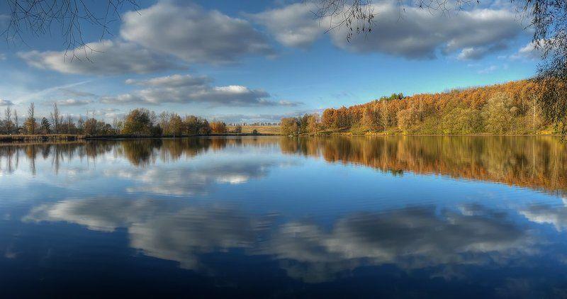 пейзаж, пруд, облака, лес, отражение photo preview