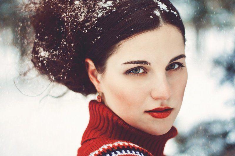 зима, зимнее, холод, мороз, снег, девушка Красна девицаphoto preview