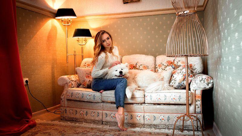 портрет, девушка, модель, собака, диван, постановка, торшер, свет Ксенияphoto preview