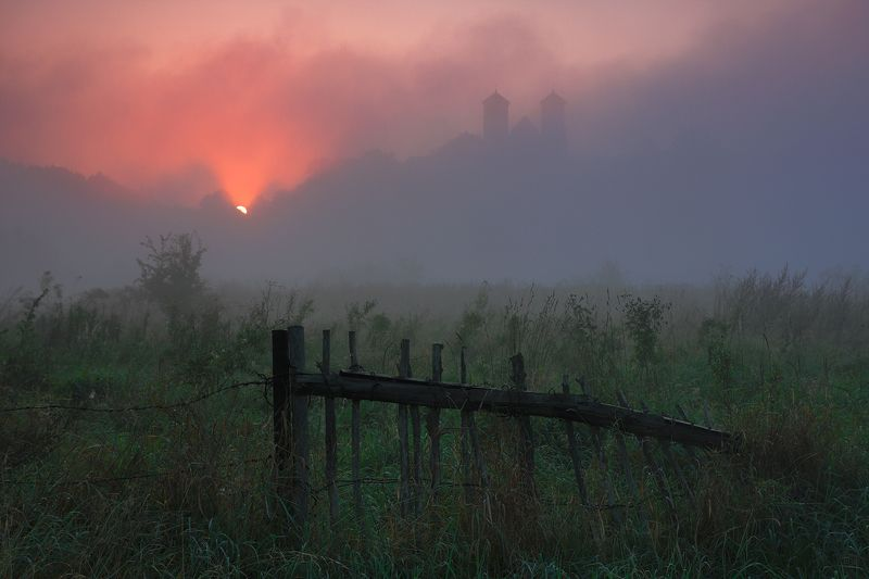 sunrise, mist, mood, sky, monastery, fence, Up and downphoto preview