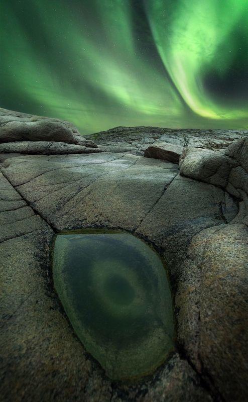 природа, скалы, северное сияние, аврора, ночь, звезды \