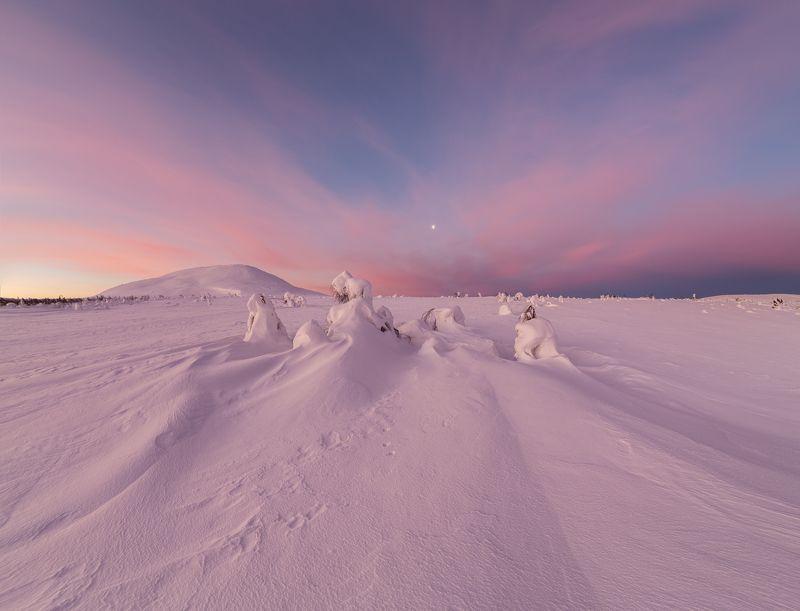 зима, горы, урал, деревья, снег, фактура, небо, облака, луна, рассвет, заря, антон селезнев Рассвет на Севереphoto preview
