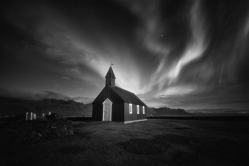 iceland, landscape, black&white, travel, farm, contrast, nature, clouds, storm, пейзаж, church Budir, Icelandphoto preview