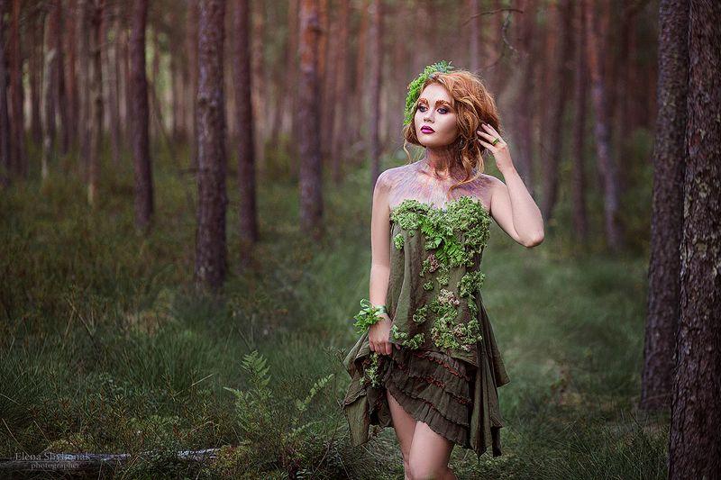 лесная фея, нимфа, сказка, красивая девушка, рыжая, мох, лес, сказочная фея,  лесная феяphoto preview