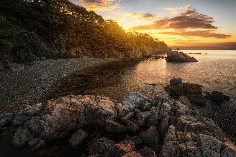 приморский край, море, солнце, рассвет, море, побережье Бухты Выползающей черепехиphoto preview