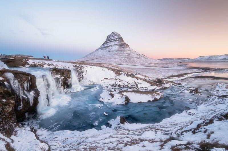 Iceland, Winter, Sunrise, Sunset, Waterfall, Mountain, Kirkjufell Winter Sunrise at Kirkjufellphoto preview