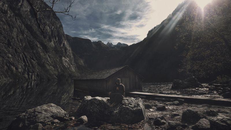 наедине, один, горы, mountain,  königssee, кёнигсзе, потрет, монах, monk Наединеphoto preview