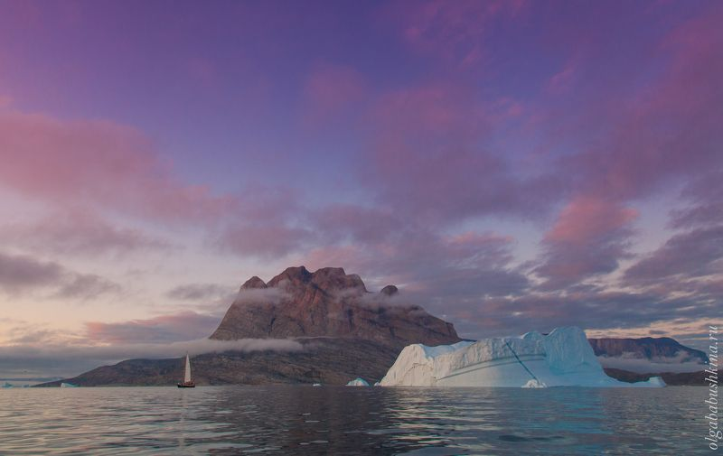 айсберги, айсберг, гренландия, арктика, закат Сиреневый закатphoto preview