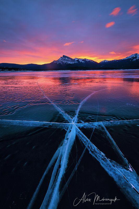 лед, зима, озеро, пузыри, закат, небо, канада, фото-тур, \