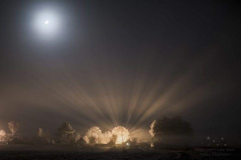 мороз, зима, туман, вечер, ночь, луна, лучи света, село, деревня, лучи, зимний вечер Зимняя сказкаphoto preview