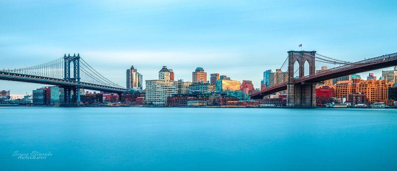 нью-йорк, город, вечер, река, длиннаявыдержка Two bridges, New Yorkphoto preview