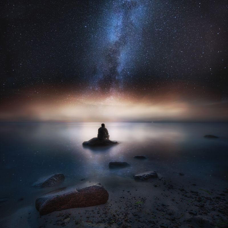 sea, shore, night, photography, milky way, landscape, man, silhouette Container shipphoto preview