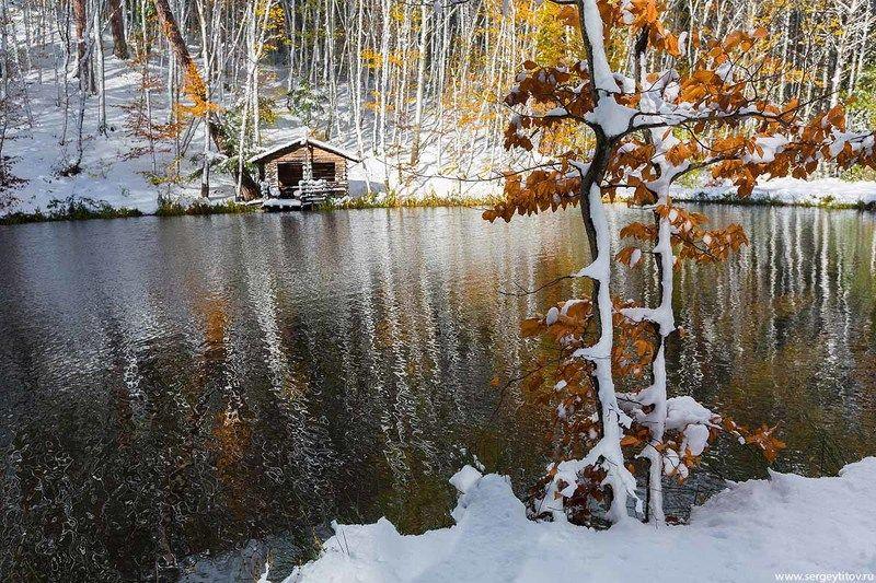 крым, ялта, первый снег, осень, снег, озеро, фотограф крым, фотограф ялта, пейзажи крыма Первый снегphoto preview