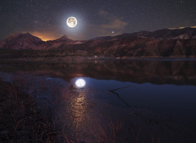 moon, landscape, astro, night , lake Лунная ночь .photo preview
