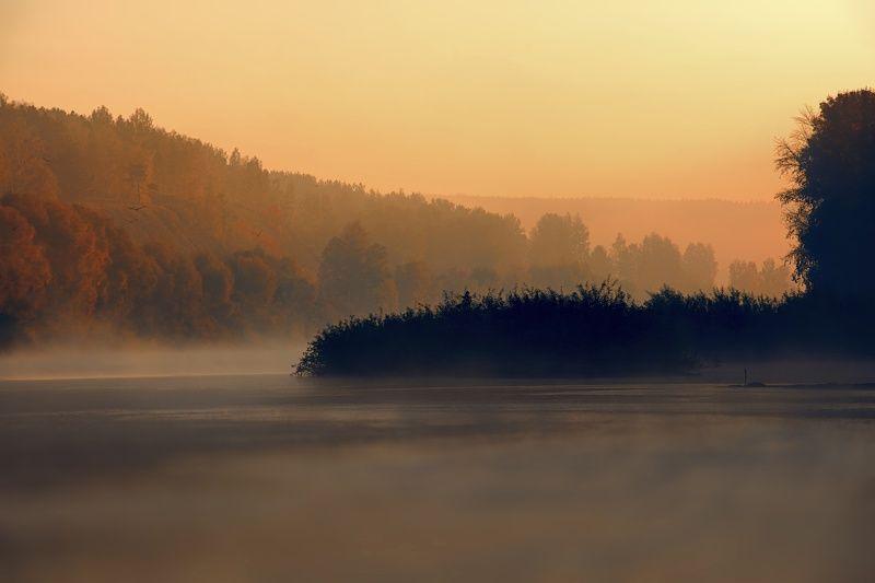 осень, рассвет, утро, пейзаж, природа, река, туман, деревья Осеннее...photo preview
