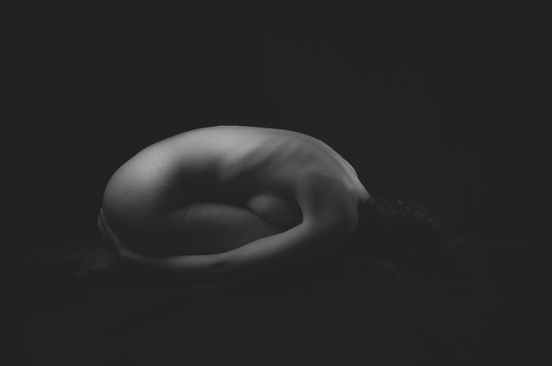 Human cocoon, nude, body, shade, black and white, shapes Human cocoonphoto preview
