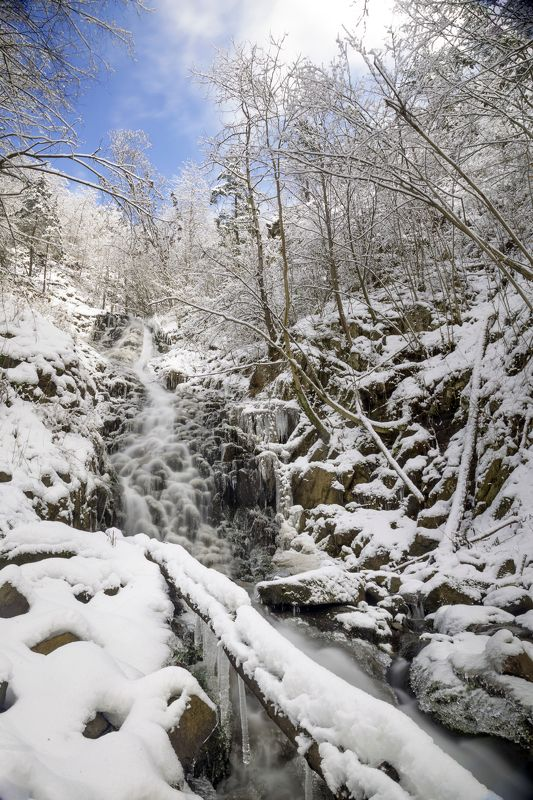 apuseni,winter,water,snow,trees,sky,waterfall, Saritoarea Waterfallsphoto preview