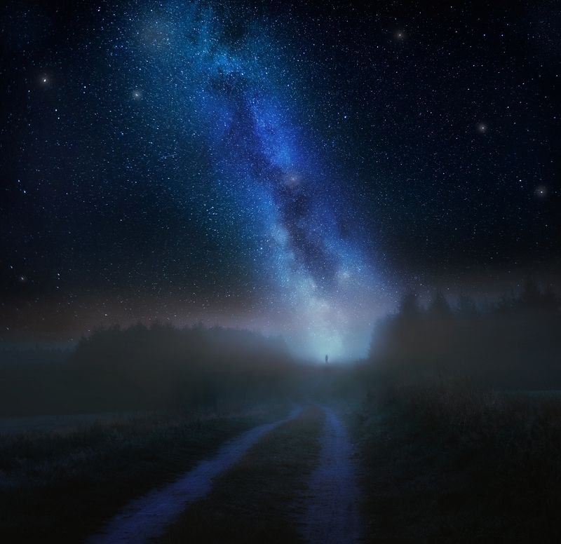 fog, may, poland, landscape, milky way, starrs, night, fineart, abstract Fog in mayphoto preview