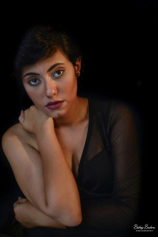 brunette girl short hair beauty black dress Selviaphoto preview