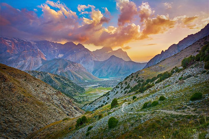 пейзаж, горы, закат, природа Закат в Фанских горахphoto preview
