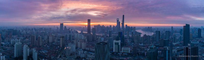Шанхай, Китай, рассвет, аэросъемка Шанхайские джунглиphoto preview