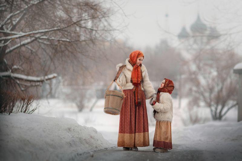 дети, зима, русское, коромысло, женщина, храм, мать и дочь, снег Русская зимаphoto preview