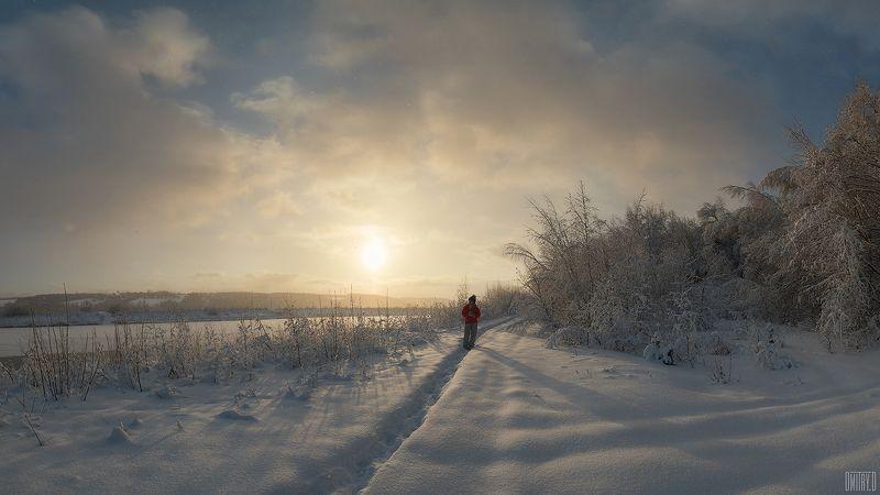 зима, закат, снег, облака, Прогулкаphoto preview