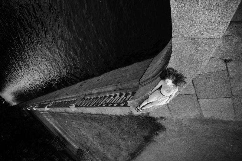 девушка, река, питер, чб, гранит, платье, Оксанаphoto preview