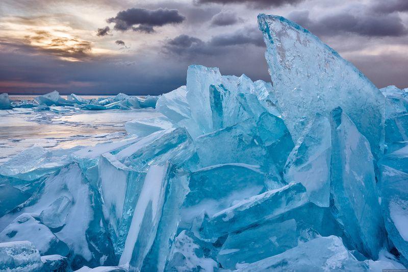 Байкал, озеро, зима, лёд, рассвет, пейзаж, Ольхон, торосы Рассвет на Байкалеphoto preview