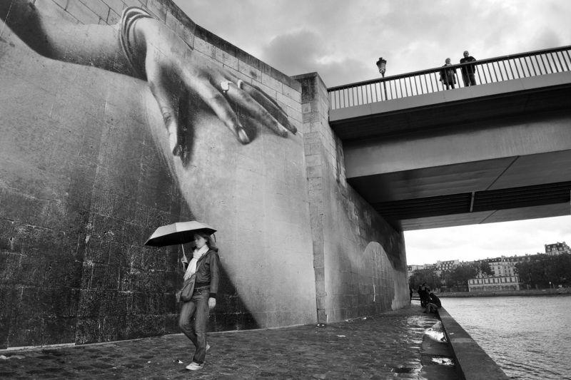 paris, street, city, seine, water, stone, hand, view, surreal, street art, bridge Hand of the Cityphoto preview
