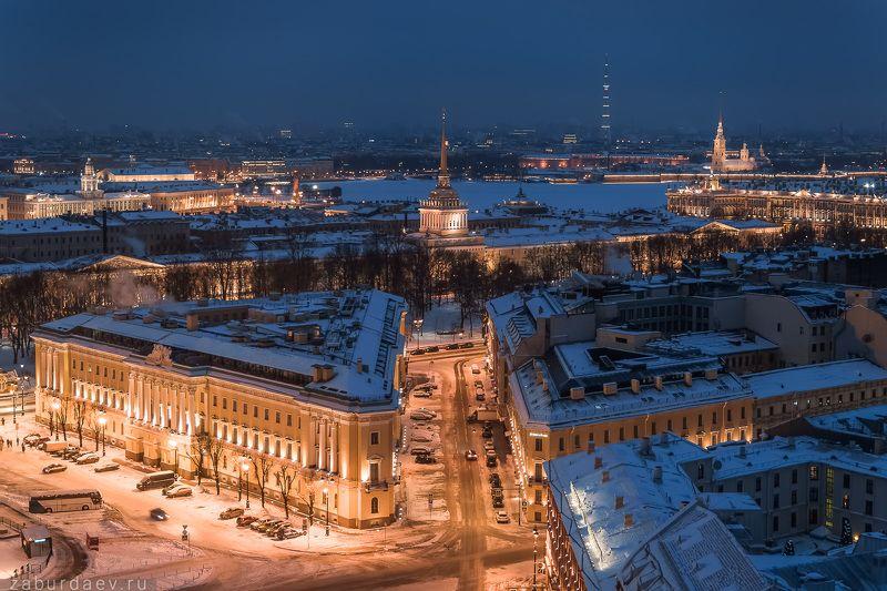россия, петербург, санкт-петербург, питер, город, архитектура, утро, рассвет, зима, снег, дрон, квадрокоптер, аэрофотосъемка Адмиралтействоphoto preview