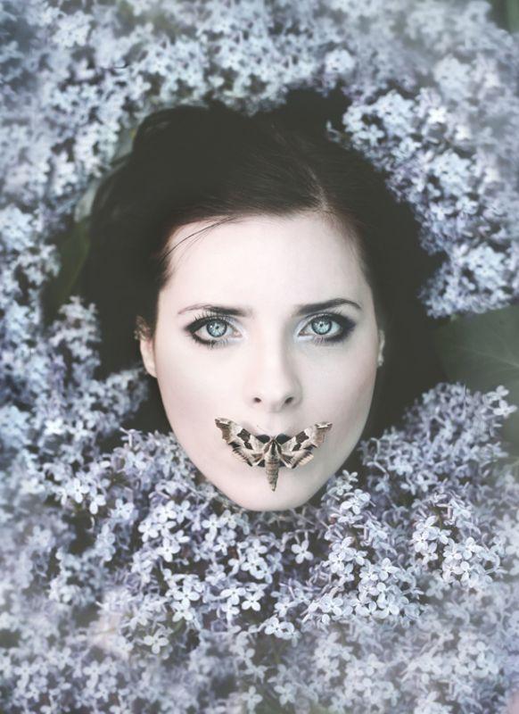 lilac, spring, portrait, conceptual, fairytales, moth ***photo preview