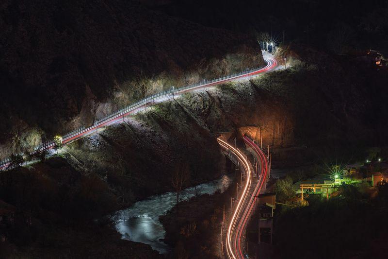 night, light, landscape, mountain, trails, river, travel  Crossroadphoto preview