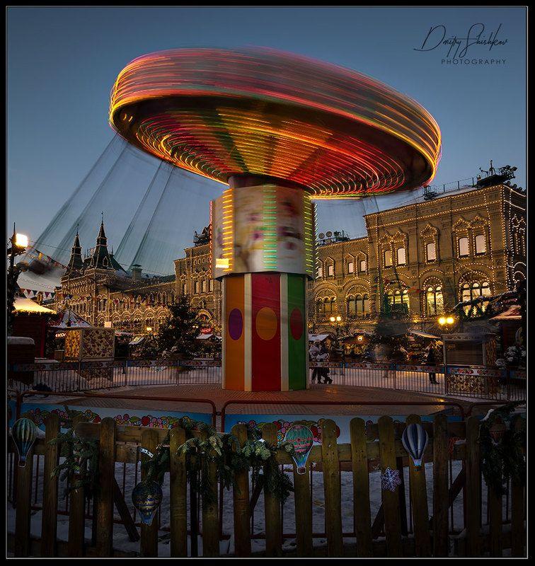 москва, красная площадь, кремль, карусель, вечер, зима Карусель на Красной площади в Москвеphoto preview
