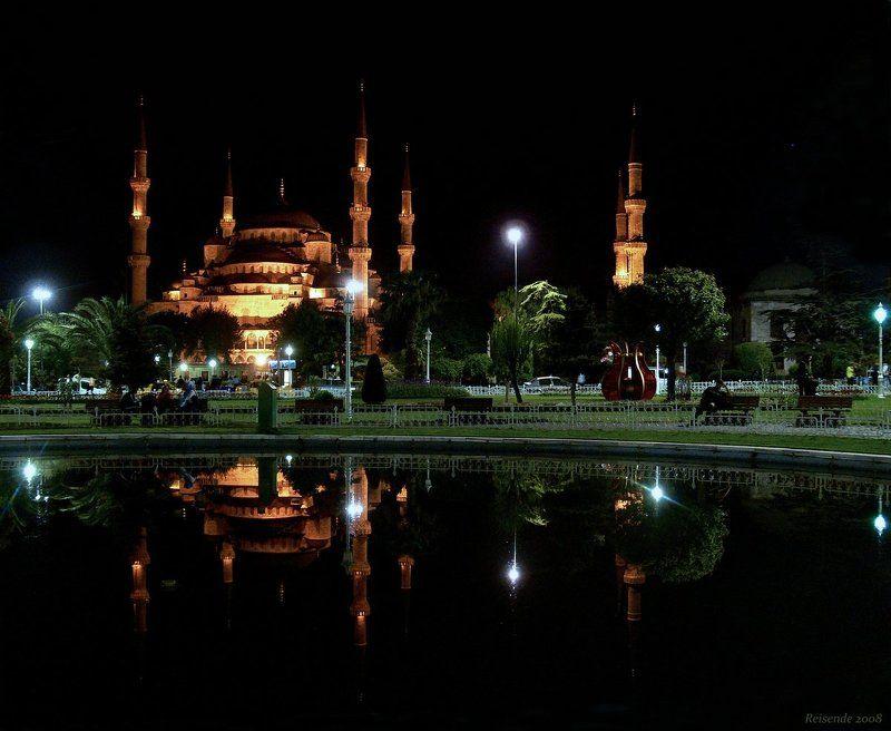 турция, стамбул, ипподром, султанахмет, ахмедие, sultanahmet, camii, голубая, мечеть Ночь над площадью Ипподромphoto preview