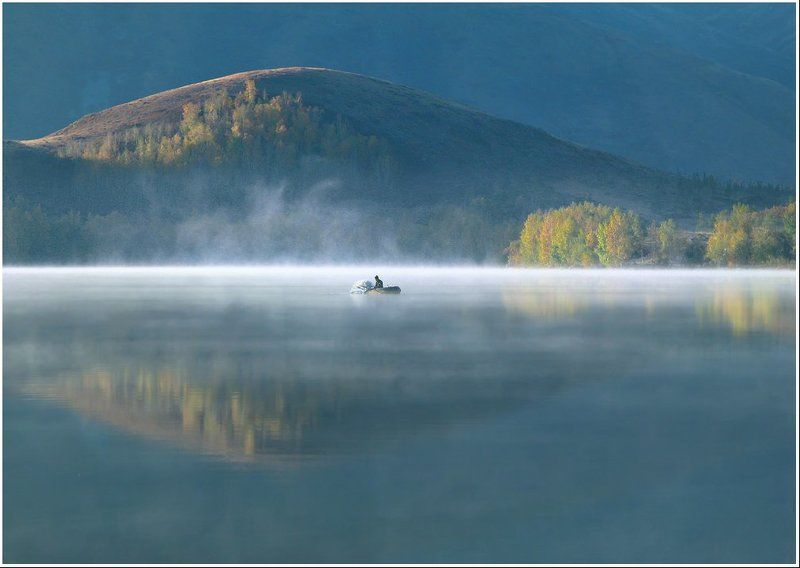 утро, озеро, туман, горы, рыбак Утро на Шыбындыколеphoto preview