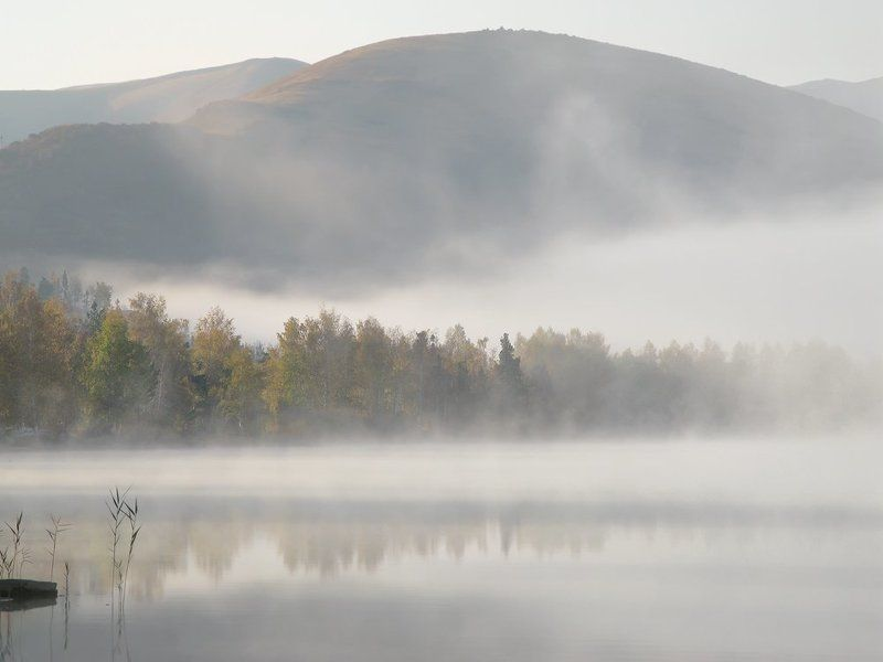 озеро, туман, горы, утро Озерная туманностьphoto preview
