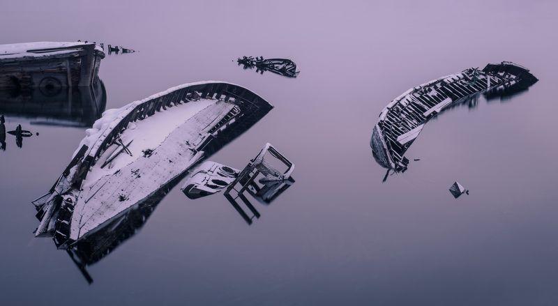 териберка, баренцево море, север, северное сияние, тундра, кольский полуостров, заполярье Сны вечной пристаниphoto preview