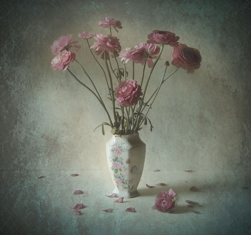 flowers, vase, pink, still life, texture Pink Flowersphoto preview