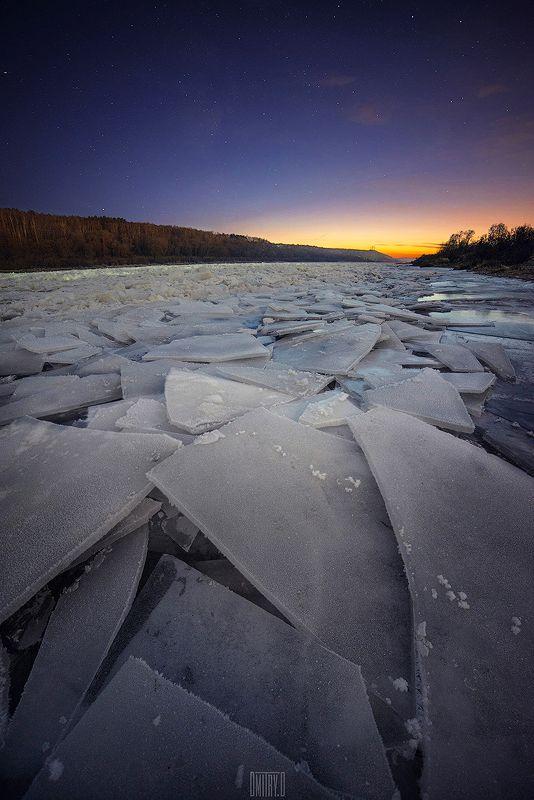 алексин, река, ока, зима, лед, ночь, звезды, пейзаж, Льдыphoto preview